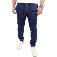 Reslad Casual Style Jeans-Herren Slim Fit Jogging-Hose RS-2071 Dunkelblau 2XL