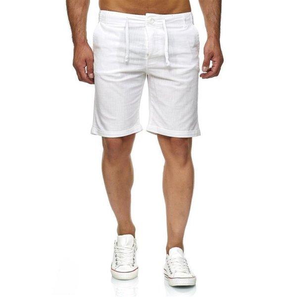 Reslad Leinen-Hose kurze Herren-Hose Stoffhose Sommer-Shorts RS-3002 Weiß L