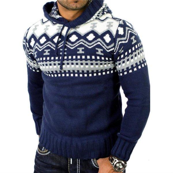 Reslad Herren Grobstrick Pullover Norweger Winter Kapuzenpullover RS-3013 Blau L