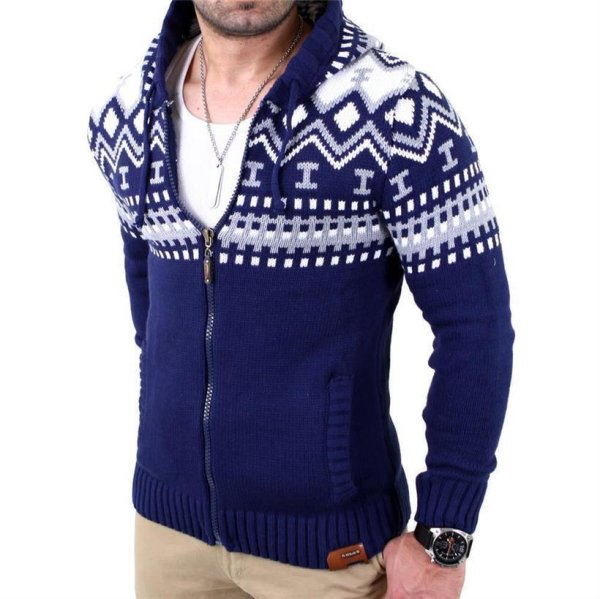 Reslad Herren Grobstrick Norweger Winter Strickjacke mit Kapuze RS-3104 Blau S