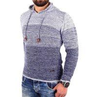 Reslad Strickpullover Herren Colorblock Kapuzen-Pullover Hoodie RS-3108 Indigoblau M
