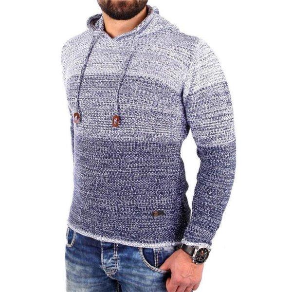 Reslad Strickpullover Herren Colorblock Kapuzen-Pullover Hoodie RS-3108 Indigoblau XL