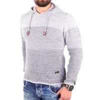 Reslad Strickpullover Herren Colorblock Kapuzen-Pullover Hoodie RS-3108 Grau S