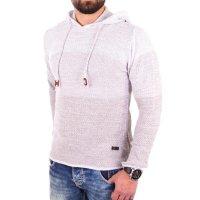 Reslad Strickpullover Herren Colorblock Kapuzen-Pullover Hoodie RS-3108 Stone S