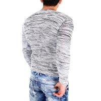 Reslad Strickpullover Herren-Pullover Melange Look Grobstrick-Pulli RS-3125 Ecru S