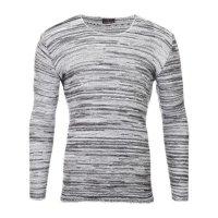 Reslad Strickpullover Herren-Pullover Melange Look Grobstrick-Pulli RS-3125 Ecru M