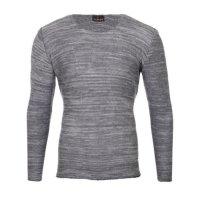 Reslad Strickpullover Herren-Pullover Melange Look Grobstrick-Pulli RS-3125 Anthrazit S