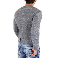 Reslad Strickpullover Herren-Pullover Melange Look Grobstrick-Pulli RS-3125 Anthrazit M