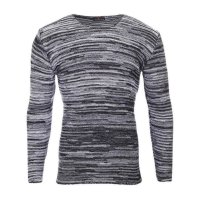 Reslad Strickpullover Herren-Pullover Melange Look Grobstrick-Pulli RS-3125 Schwarz M