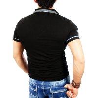 Reslad Herren Zipper Style T-Shirt Poloshirt RS-5028 Schwarz M