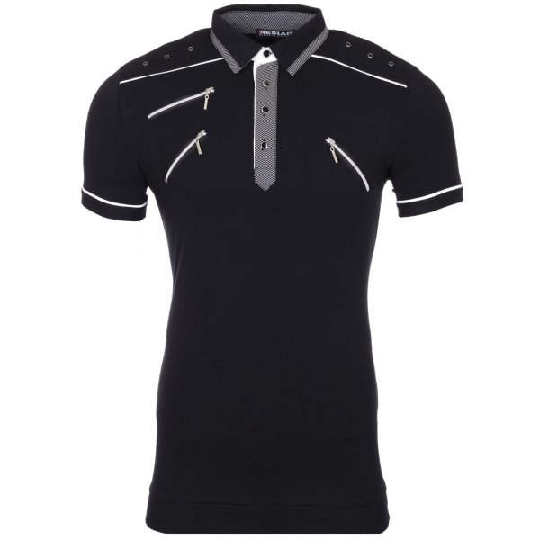 Reslad Herren Zipper Style T-Shirt Poloshirt RS-5028 Schwarz XL