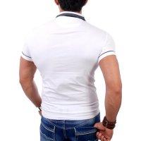 Reslad Herren Zipper Style T-Shirt Poloshirt RS-5028 Weiß S