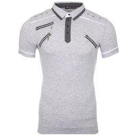 Reslad Herren Zipper Style T-Shirt Poloshirt RS-5028 Grau L