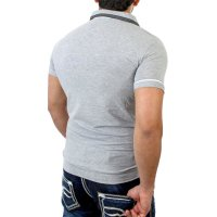 Reslad Herren Zipper Style T-Shirt Poloshirt RS-5028 Grau XL