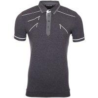 Reslad Herren Zipper Style T-Shirt Poloshirt RS-5028 Anthrazit S