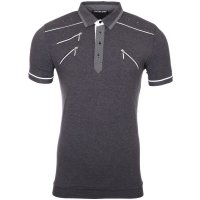 Reslad Herren Zipper Style T-Shirt Poloshirt RS-5028 Anthrazit XL