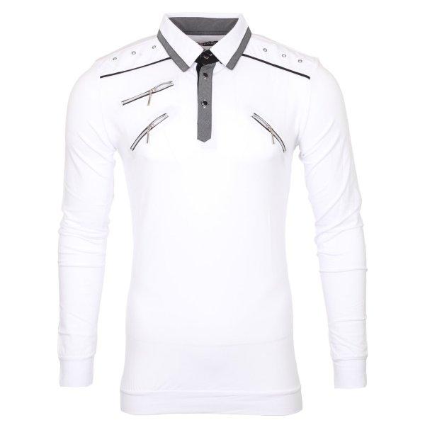 Reslad Langarmshirt Herren Zipper Style Longsleeve RS-5028L Weiß XL
