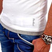 Reslad Herren Kapuzen T-Shirt San Diego RS-5033 Weiß-Grau M
