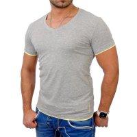 Reslad Herren T-Shirt Miami RS-5050 Grau-Gelb 2XL