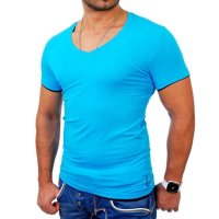 Reslad Herren T-Shirt Miami RS-5050 Türkis-Schwarz L