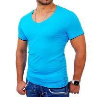 Reslad Herren T-Shirt Miami RS-5050 Türkis-Schwarz 2XL