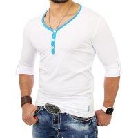 Reslad Herren Langarm Shirt Manhatten RS-5054 Türkis-Weiß L