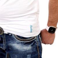 Reslad Herren Langarm Shirt Manhatten RS-5054 Türkis-Weiß 2XL