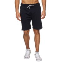 Reslad Sweat-Shorts Herren Basic Sport Freizeit Kurze Sweat-Hose RS-5061 Schwarz S
