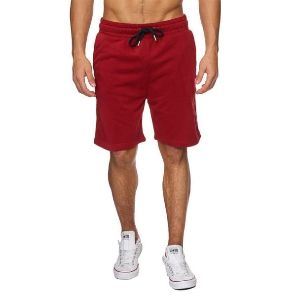 Reslad Sweat-Shorts Herren Basic Sport Freizeit Kurze Sweat-Hose RS-5061 Rot M