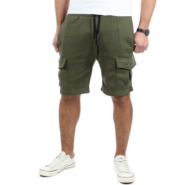 Reslad Kurze Hose Herren Cargo Bermuda Shorts Jogginghose Sport-Hose RS-5069 Khaki 2XL