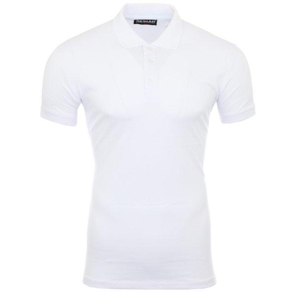 Reslad Poloshirt Herren Basic Slim Fit Kurzarm Pique Polo-Shirt RS-5090 Weiß 2XL