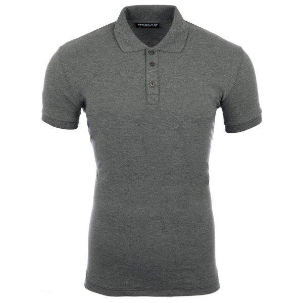 Reslad Poloshirt Herren Basic Slim Fit Kurzarm Pique Polo-Shirt RS-5090 Anthrazit 2XL