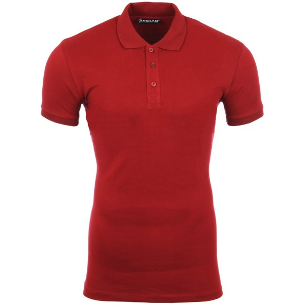 Reslad Poloshirt Herren Basic Slim Fit Kurzarm Pique Polo-Shirt RS-5090 Bordeaux 2XL