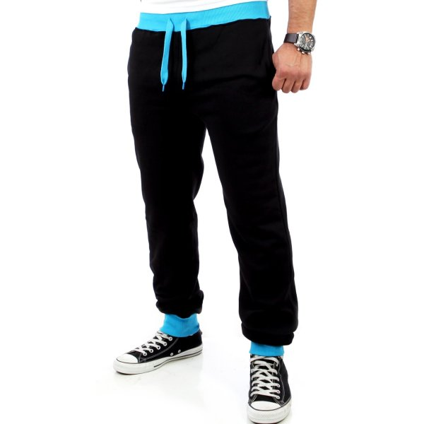Reslad Herren Athletic Sweatpant Jogginghose RS-5100 Schwarz-Türkis S