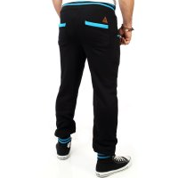 Reslad Herren Buttoned Style Sweatpants Jogginghose RS-5150 Schwarz-Türkis S