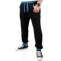Reslad Herren Buttoned Style Sweatpants Jogginghose RS-5150 Schwarz-Türkis L