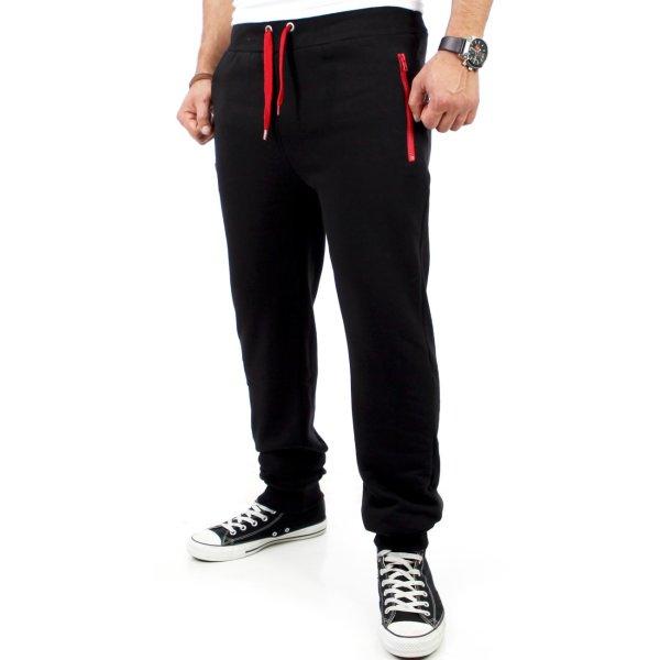 Reslad Herren Zip Bag Atlethic Sweatpant Jogginhose RS-5180 Schwarz-Rot S