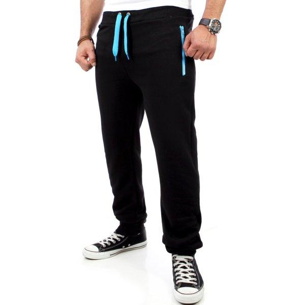 Reslad Herren Zip Bag Atlethic Sweatpant Jogginhose RS-5180 Schwarz-Türkis S