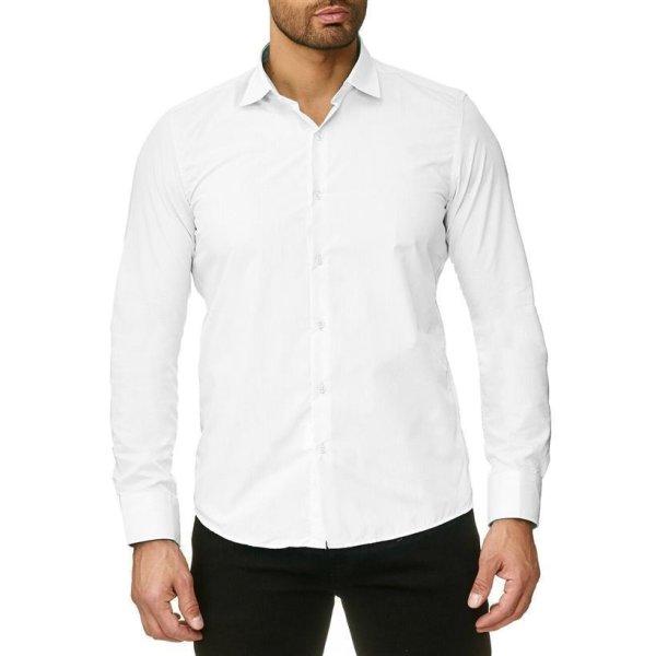 Reslad Herren Hemd Kentkragen Unicolor Langarmhemd RS-7002 Weiß S