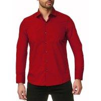 Reslad Herren Hemd Kentkragen Unicolor Langarmhemd RS-7002 Rot S