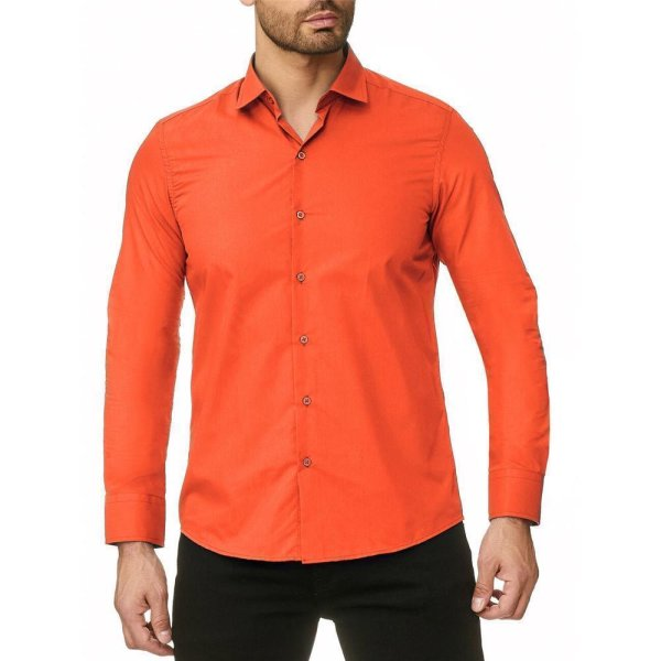 Reslad Herren Hemd Kentkragen Unicolor Langarmhemd RS-7002 Orange S