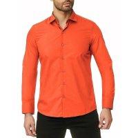 Reslad Herren Hemd Kentkragen Unicolor Langarmhemd RS-7002 Orange M