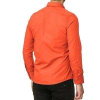 Reslad Herren Hemd Kentkragen Unicolor Langarmhemd RS-7002 Orange L