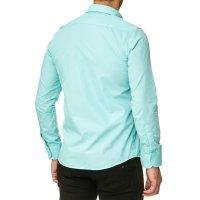 Reslad Herren Hemd Kentkragen Unicolor Langarmhemd RS-7002 Mint S