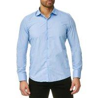 Reslad Herren Hemd Kentkragen Unicolor Langarmhemd RS-7002 Hellblau L