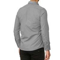 Reslad Herren Hemd Kentkragen Unicolor Langarmhemd RS-7002 Grau M
