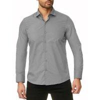 Reslad Herren Hemd Kentkragen Unicolor Langarmhemd RS-7002 Grau 2XL