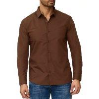 Reslad Herren Hemd Kentkragen Unicolor Langarmhemd RS-7002 Braun L