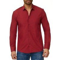 Reslad Herren Hemd Kentkragen Unicolor Langarmhemd RS-7002 Bordeaux S