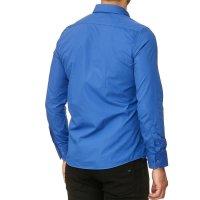 Reslad Herren Hemd Kentkragen Unicolor Langarmhemd RS-7002 Blau S